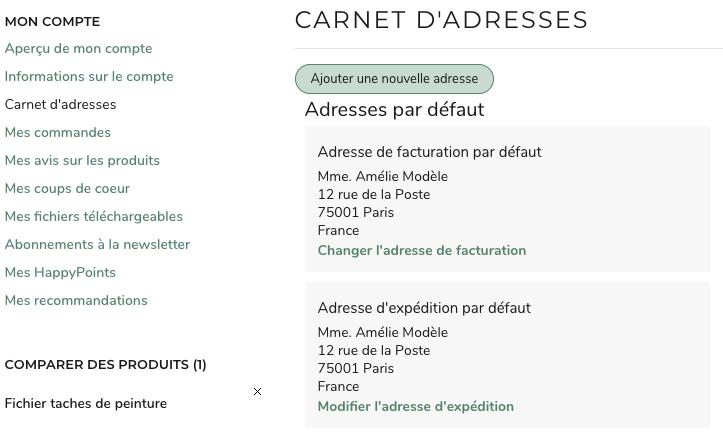 Screenshot des Adressbuchs mit Rechnungs- und Versandanschrift