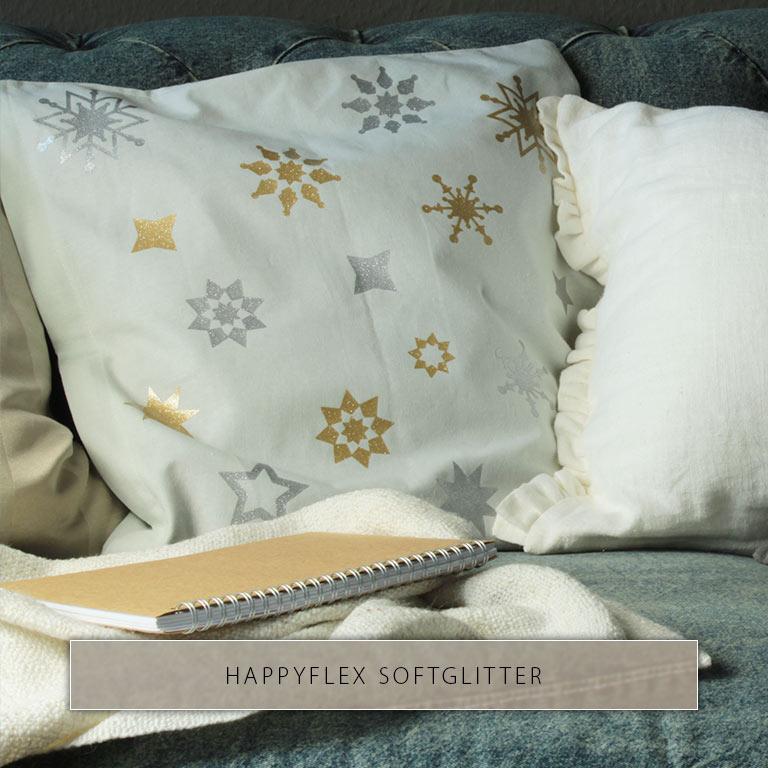Housse de coussin léger imprimé d'étoiles dorées et argentées en paillettes HappyFlex.