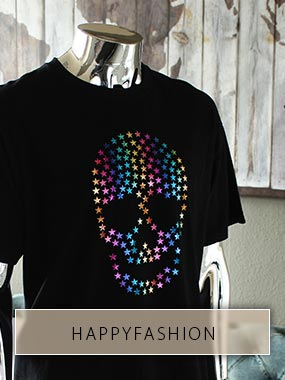 Crâne de nombreuses petites étoiles aux couleurs de l'arc-en-ciel de HappyFashion en film thermocollant.
