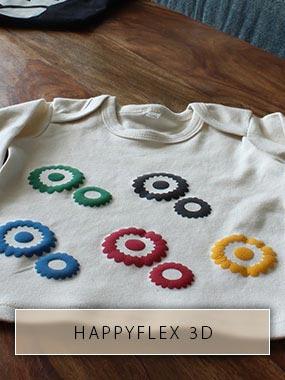 Les roues dentées en HappyFlex 3D avec film thermocollant se distinguent d'une chemise pour enfants.