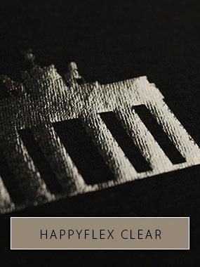 Silhouette de la Porte de Brandebourg imprimée avec HappyFlex Clear sur tissu noir. La silhouette brille dans la lumière.