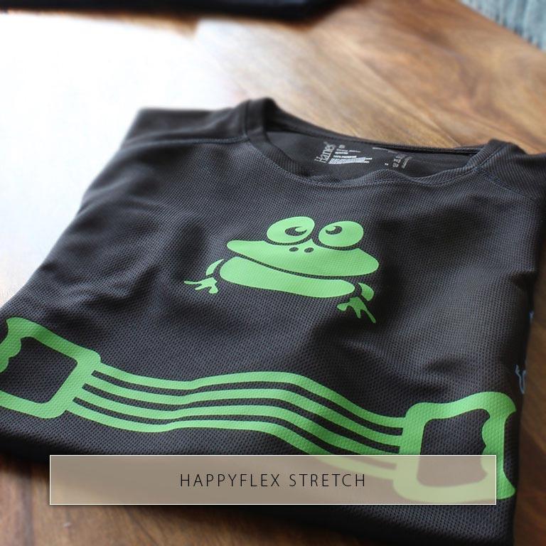Une recherche et un élastique imprimé à partir du HappyFlex Stretch extensible sur un maillot.
