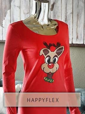Tête de renne en HappyFlex coloré imprimé sur chemise rouge